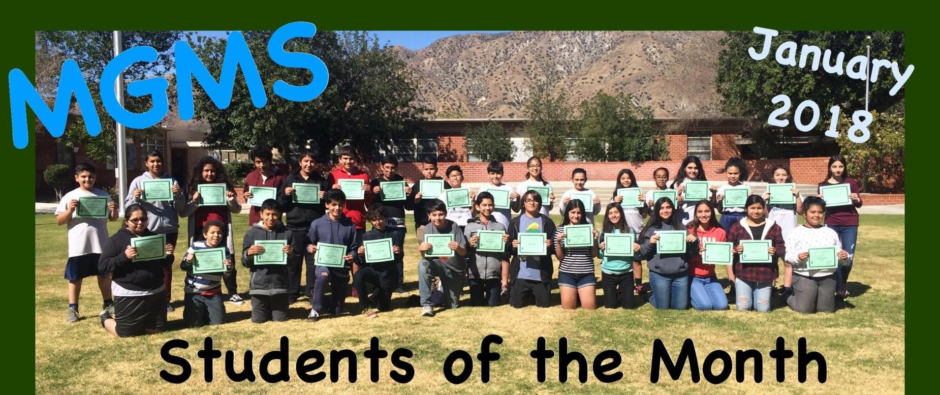 January 2018 Students of the month
