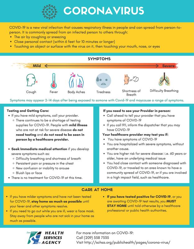 SCHSA COVID Community Info Sheet