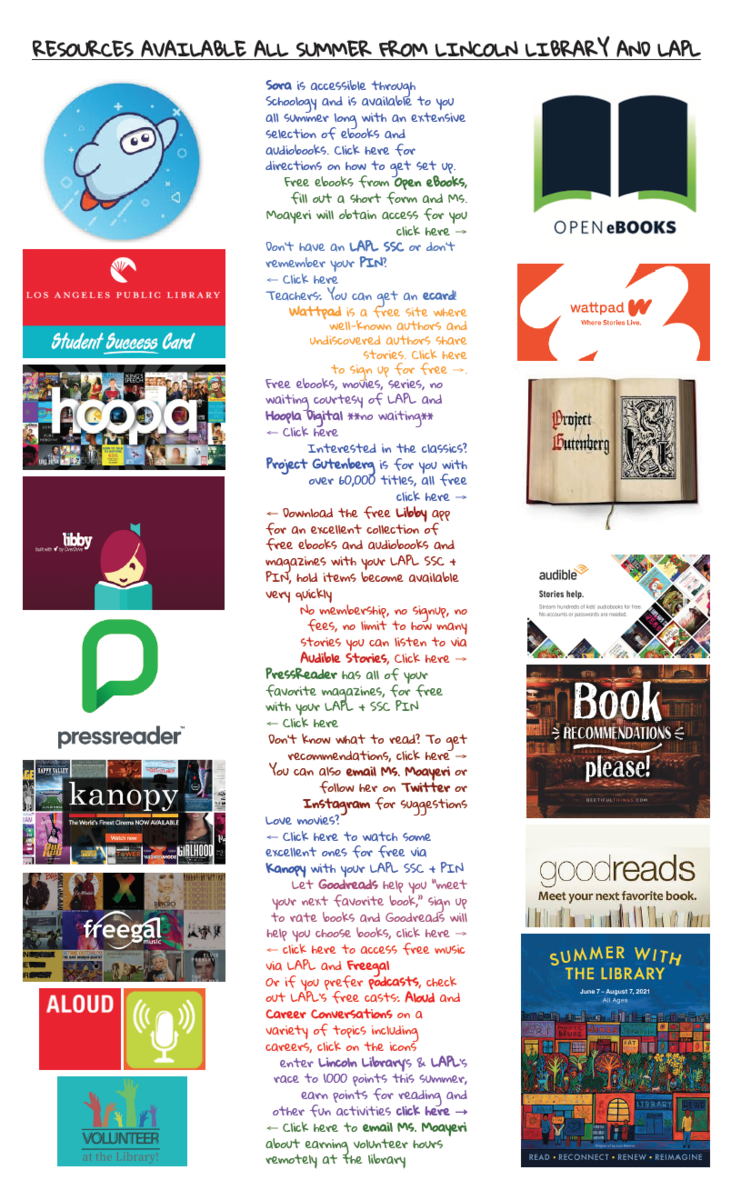 Summer 2021 Library Resource Infographic