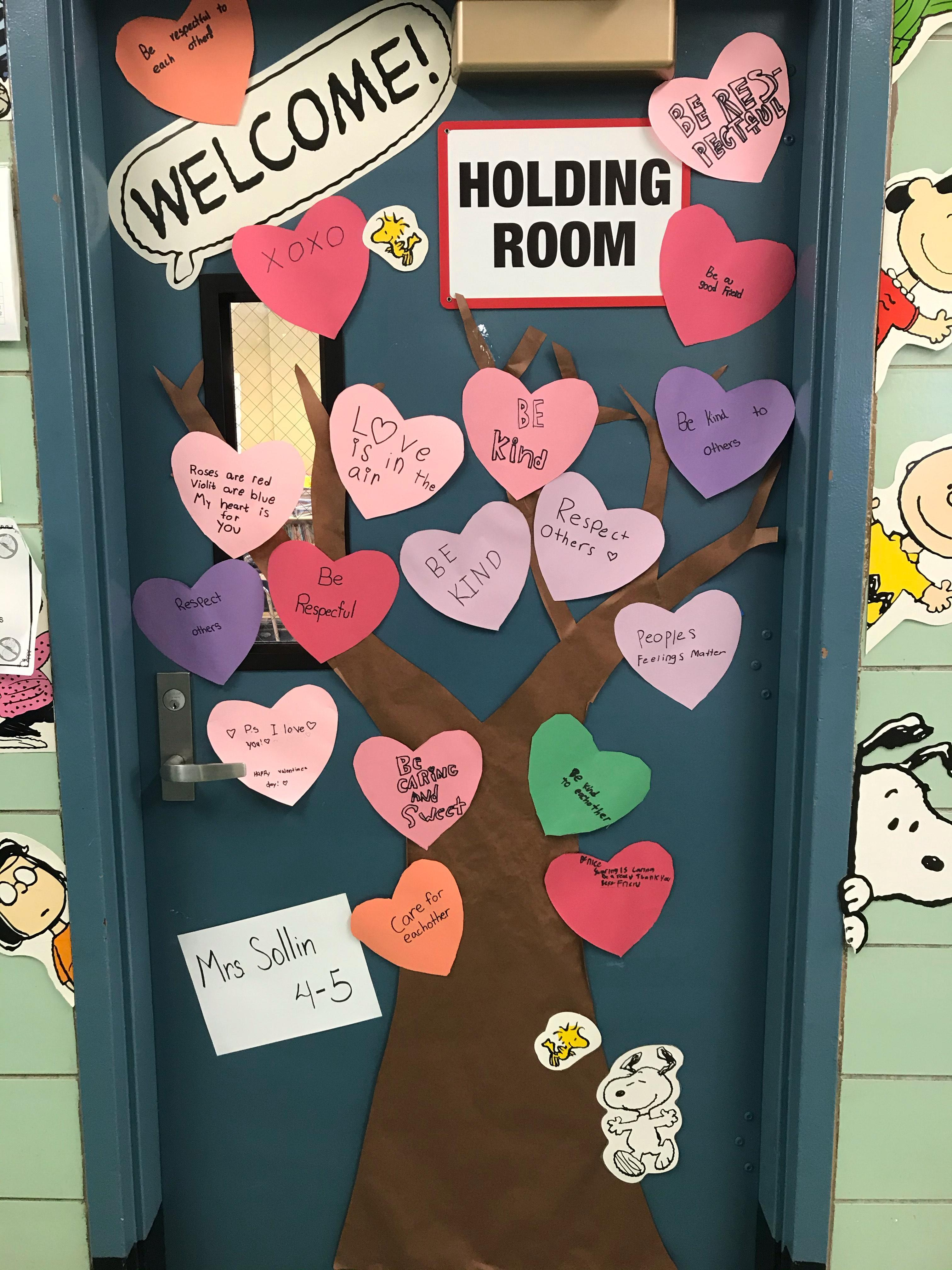 school door with messages of kindness for PS I Love You Day