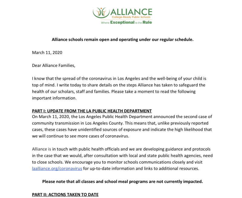 Coronavirus Update for Alliance Families