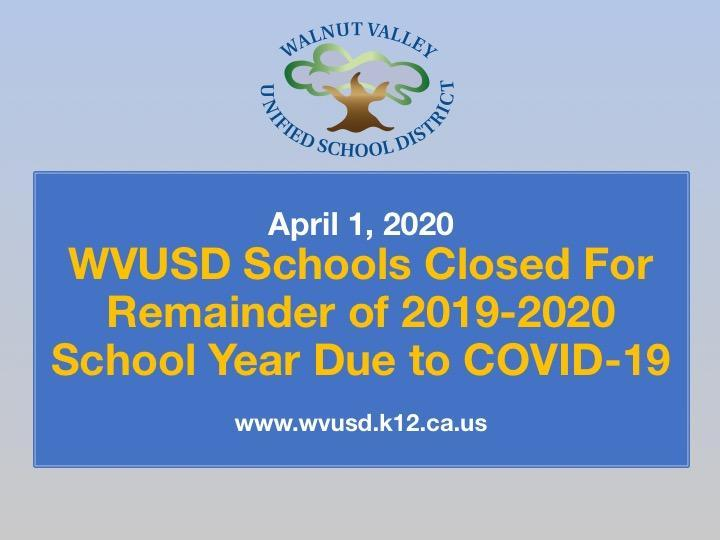 WVUSD Schools Closed for Remainder of 2019-2020 School Year Featured Photo