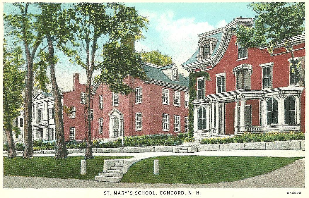 An illustration of the original St. Mary's School in Concord, New Hampshire, before the School was moved north of Franconia Notch to its permanent home in Bethlehem in the 1900s.
