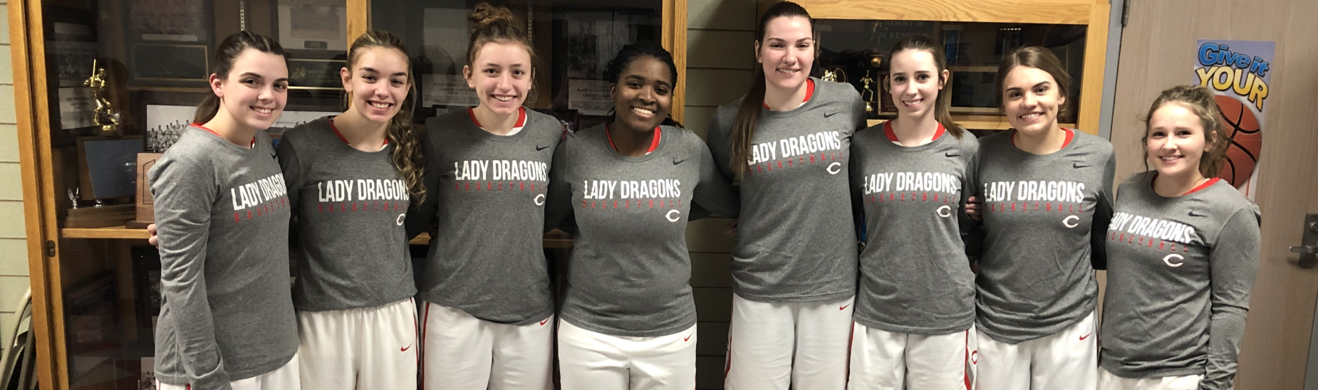 Eight senior Lady Dragons were honored on senior night, January 31, 2020.