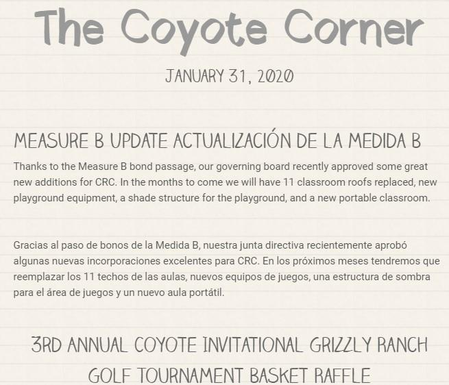 Screenshot of our January 31 newsletter