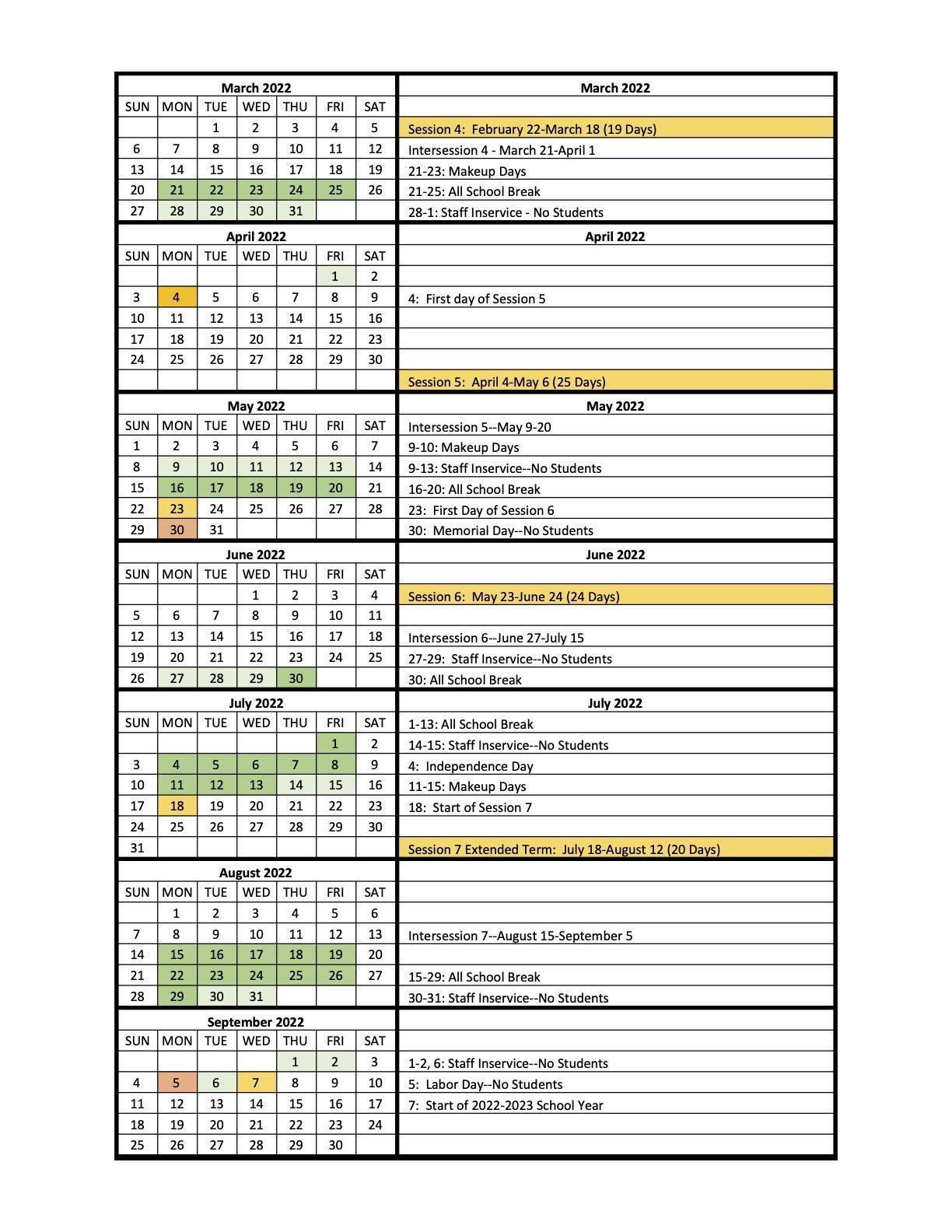 Year-Round Calendar