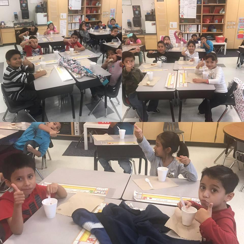 """Mrs. Dowling's class eating """"Stone Soup"""""""