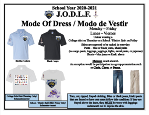 flyer for mode of dress