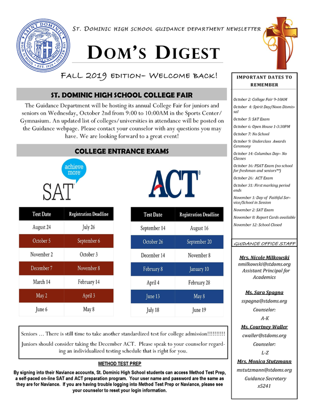 Dom's Digest - Guidance Department Newsletter (Fall 2019 Edition) Featured Photo