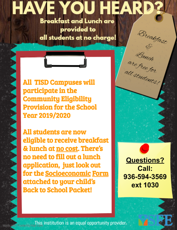 Trinity ISD and SFE now Offer Free Breakfast and Lunch for All Students! Thumbnail Image