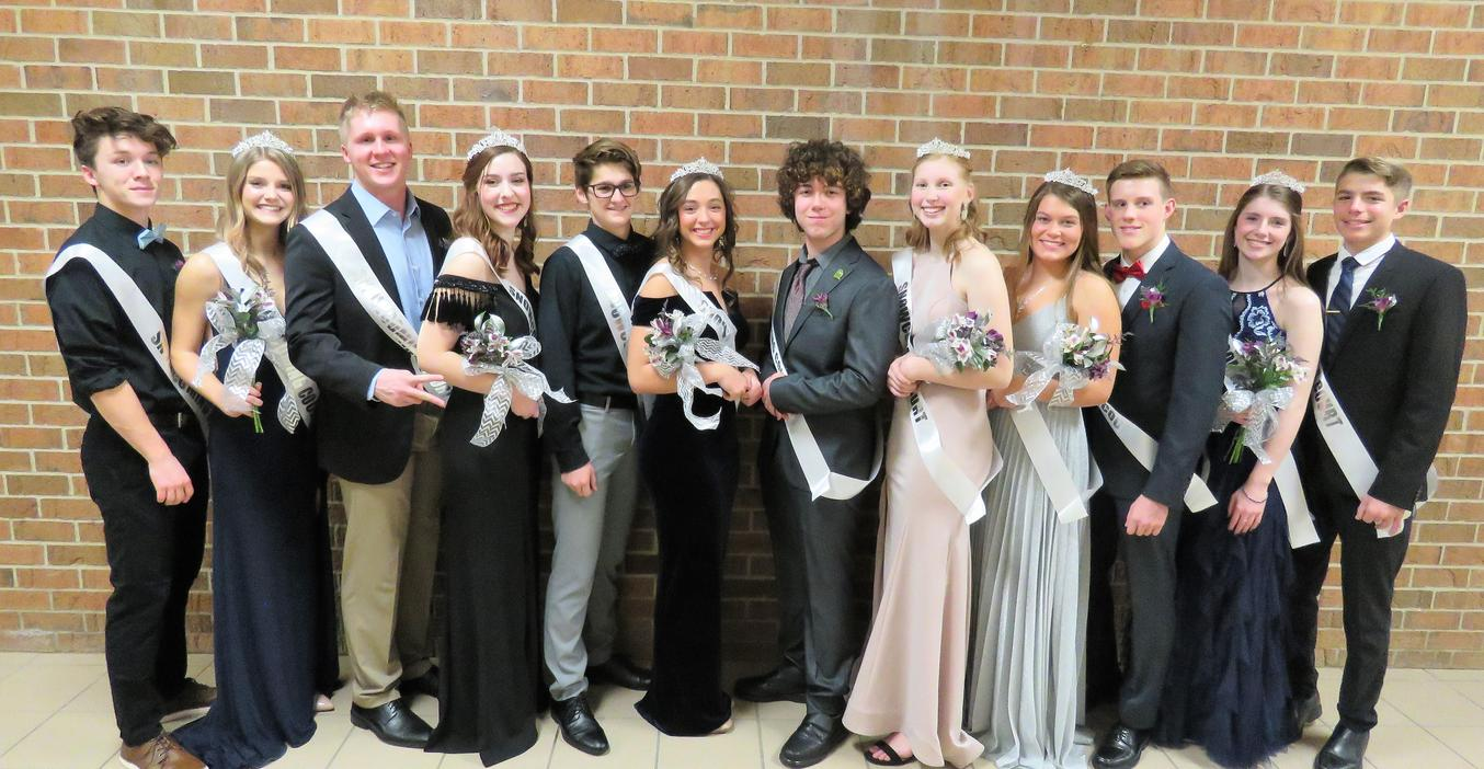 Members of the first TKHS Snowcoming Court line up.