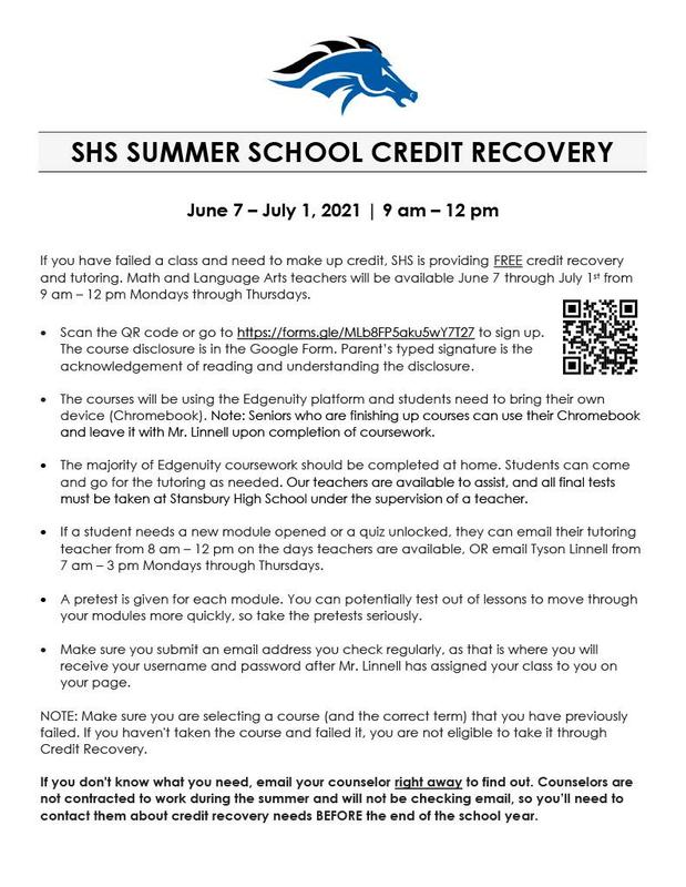 SHS Summer School (Credit Recovery) Thumbnail Image