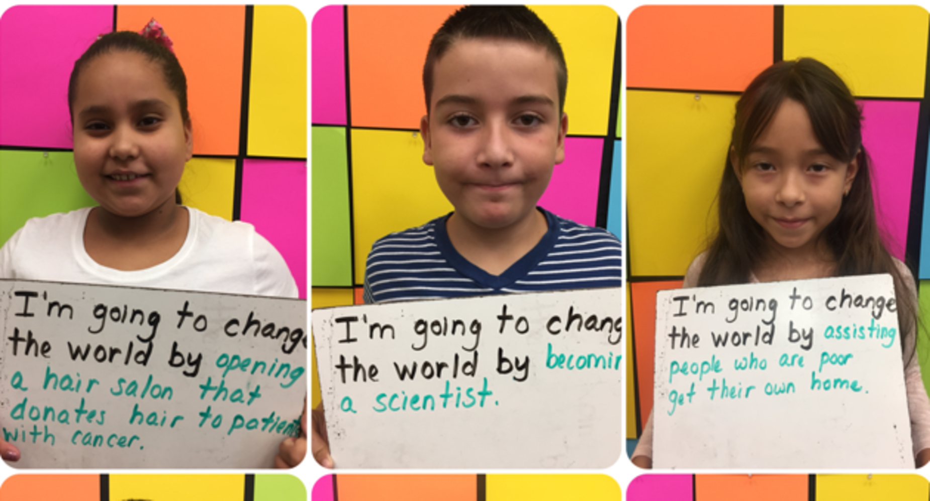 Mrs. Aguila's 4th graders beginning with the end in mind.