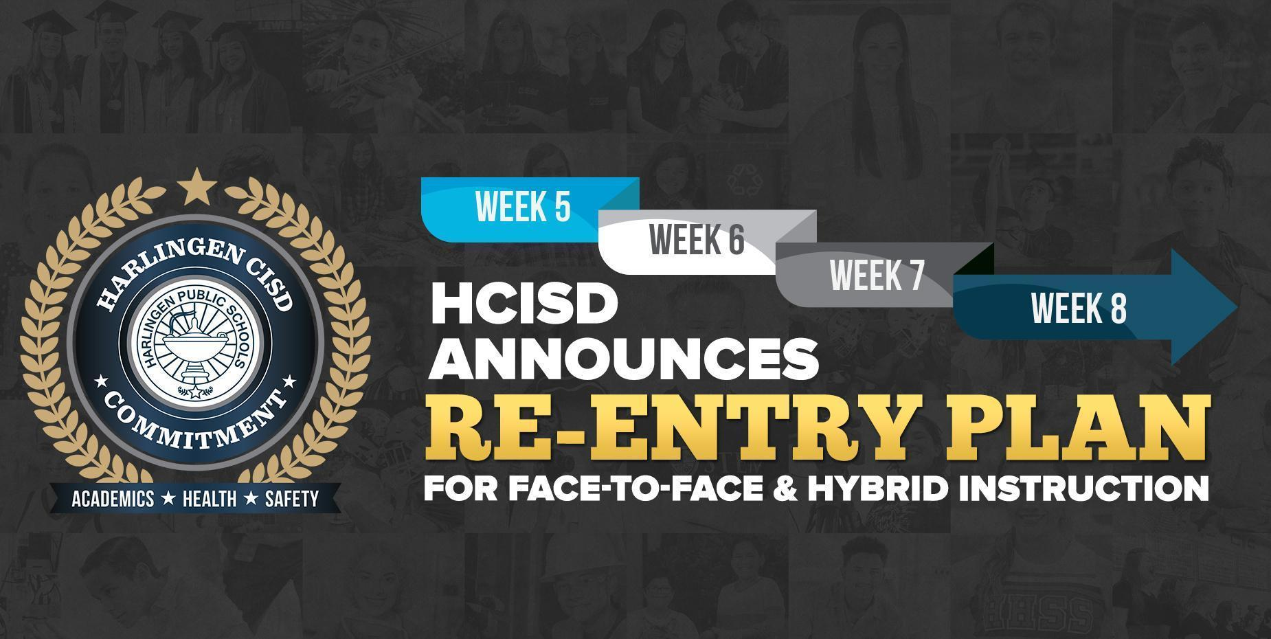 image shows HCISD crest with re-entry plan