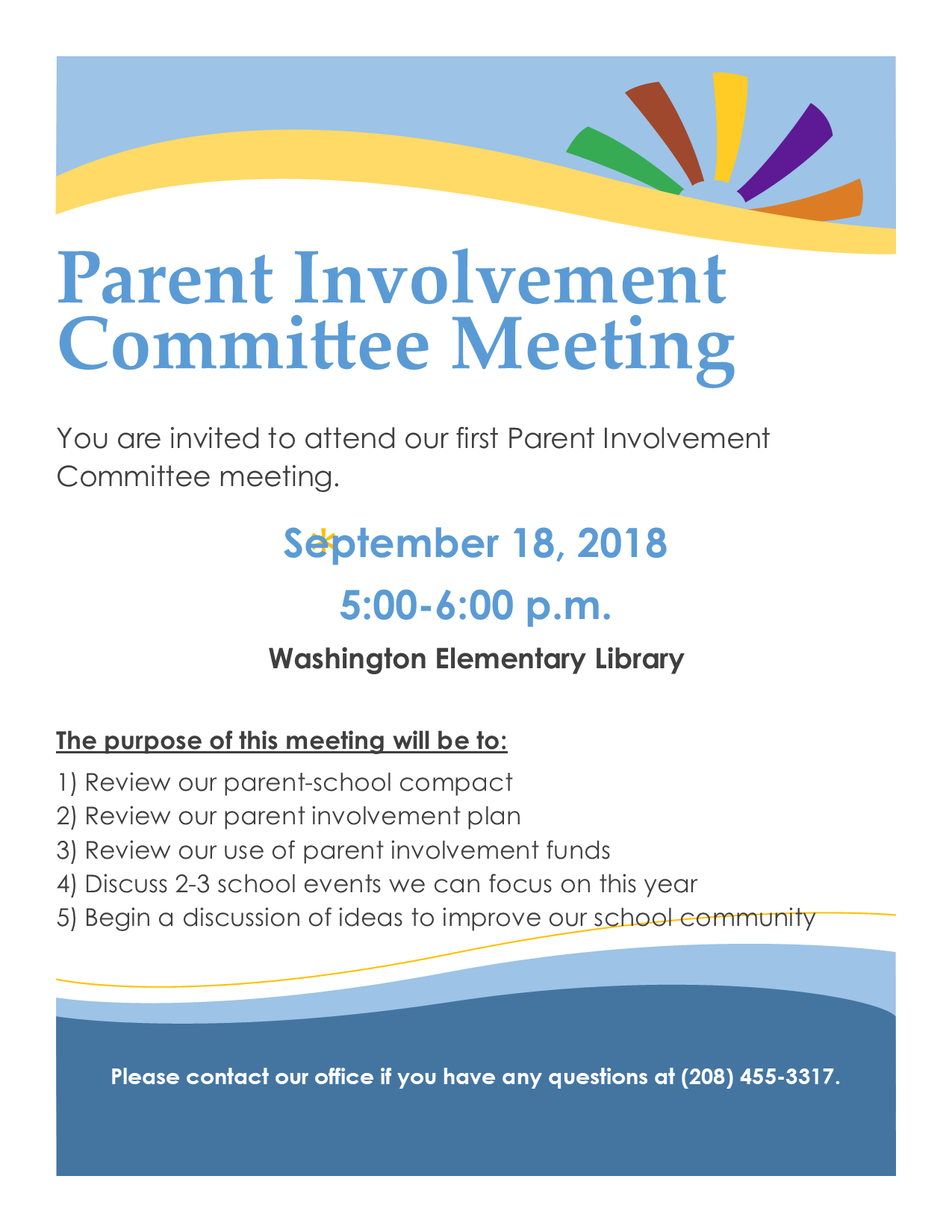 Flyer for Parent Involvement meeting on September 18th, at 5pm.