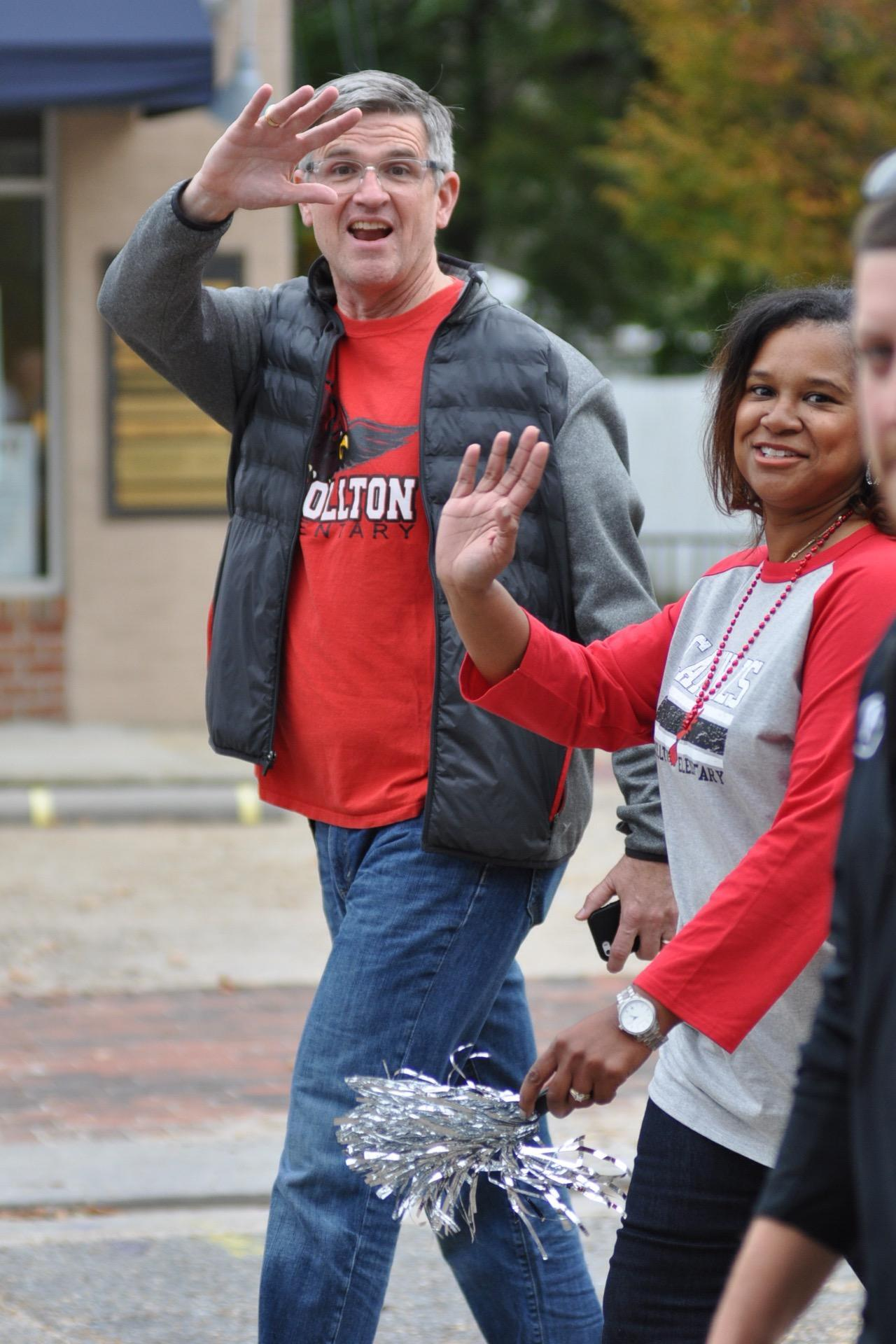 Mr. B. with Mrs. Buggs at the Smithfield High homecoming parade