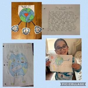 Earth day drawings and write-ups collage