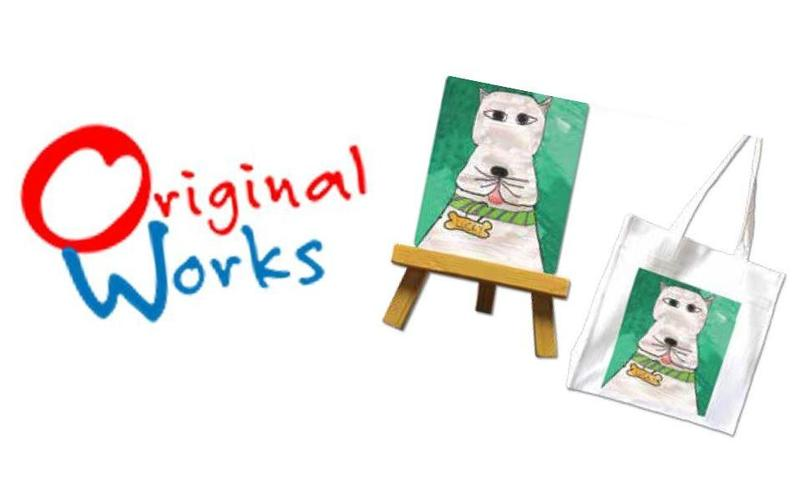 The words Original Works next to a painting of a dog and a tote bag that was created using a printed image from the painting.