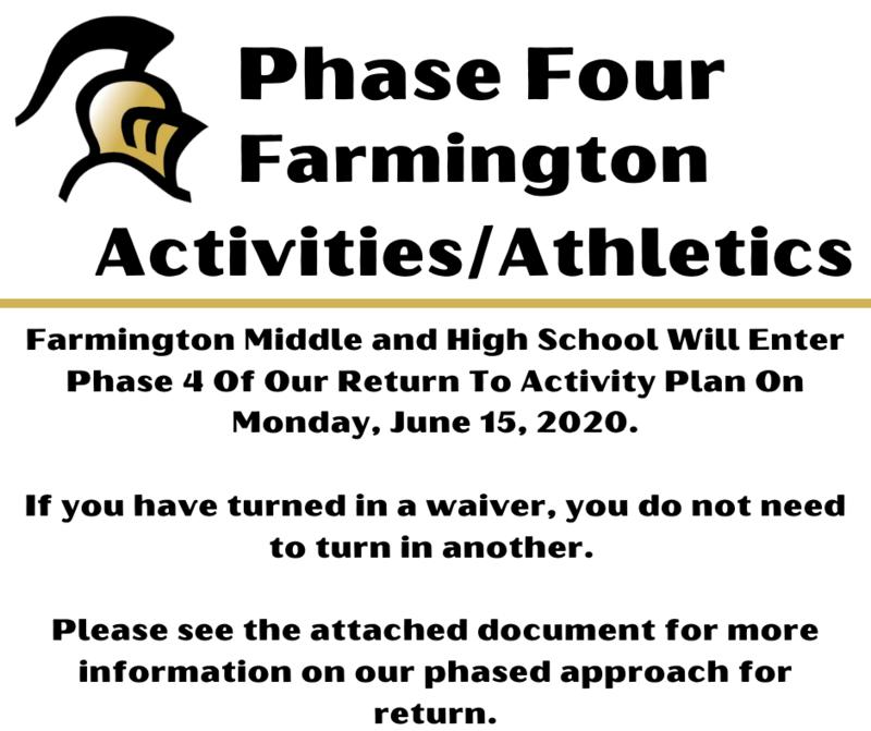 Farmington Athletics/Activities Begin Phase 4 Monday, June 15th Featured Photo