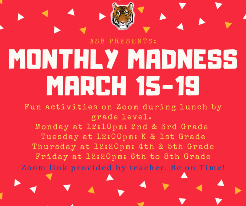 ASB Presents: Monthly Madness Activities from March 15-19 Featured Photo