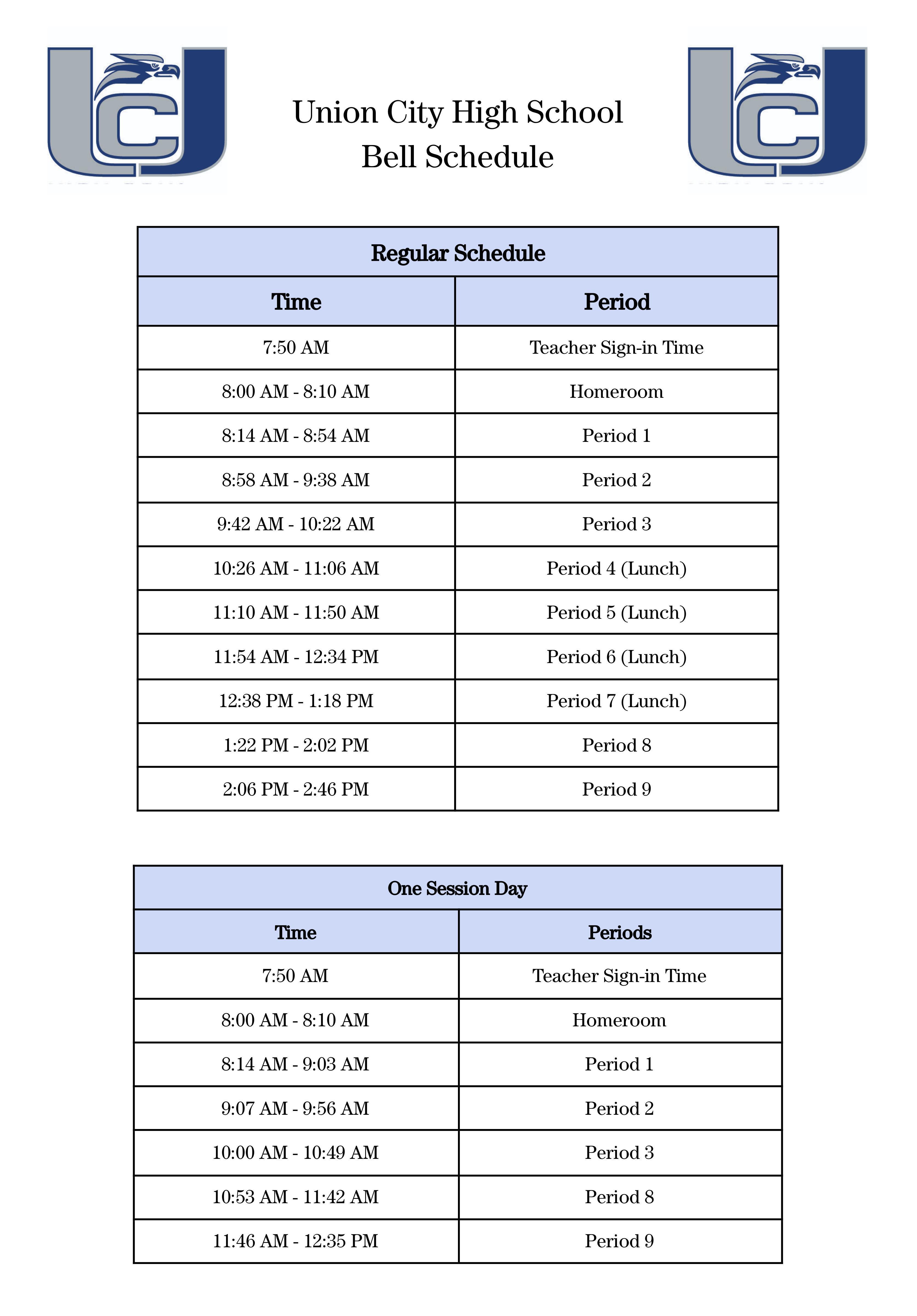 2021-22 bell schedules