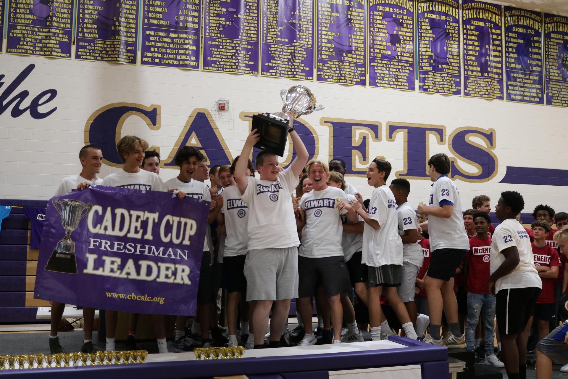 Elwart celebrates winning trophy