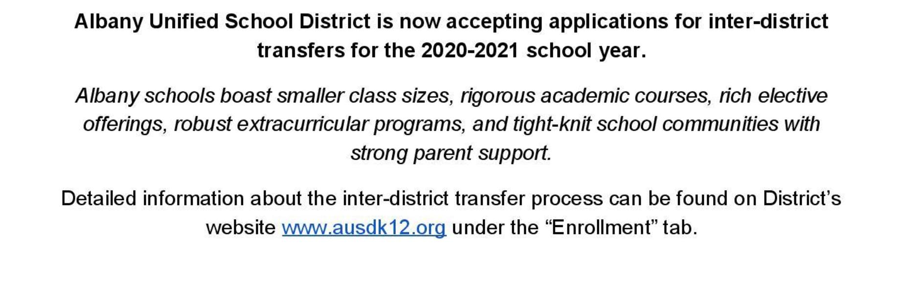 AUSD is now accepting inter-district applications for the 2020-2021 school year