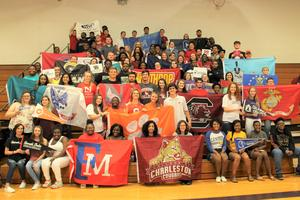 On Friday, May 17th, 109 members of the B-L High School senior class took part in the second annual Signing Day event in the school's gymnasium. Senior students signed their name on the banner, flag, or pennant of the college, university, trade school, or military branch that they plan to attend following graduation.