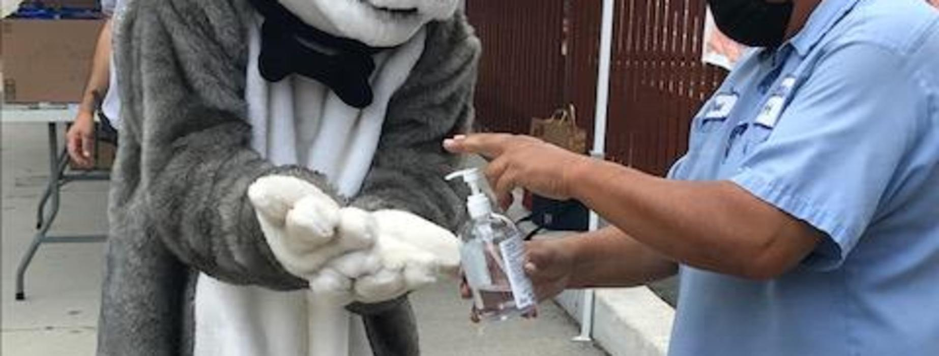 Marguerita Husky uses hand sani