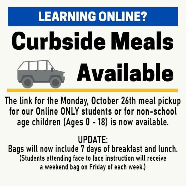 October 26th Curbside Meal Pickup for Online Learners Featured Photo