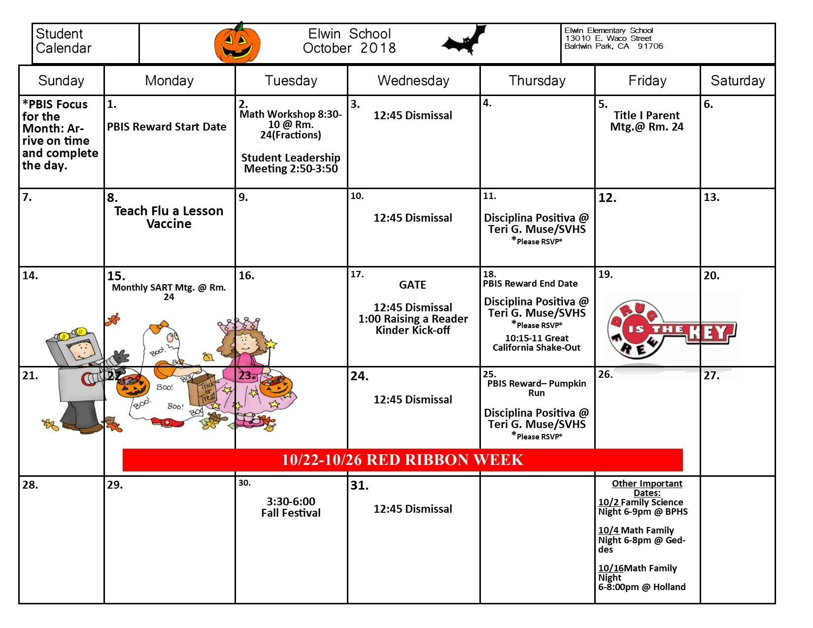 Calendar of Events for the month of October