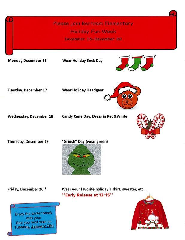 Holiday Fun Week at Bertram Elementary Thumbnail Image