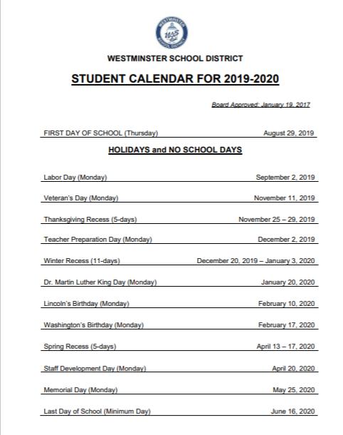 Student Calender