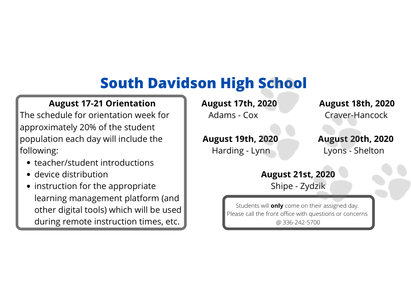 SDHS Announcement for First Week of School