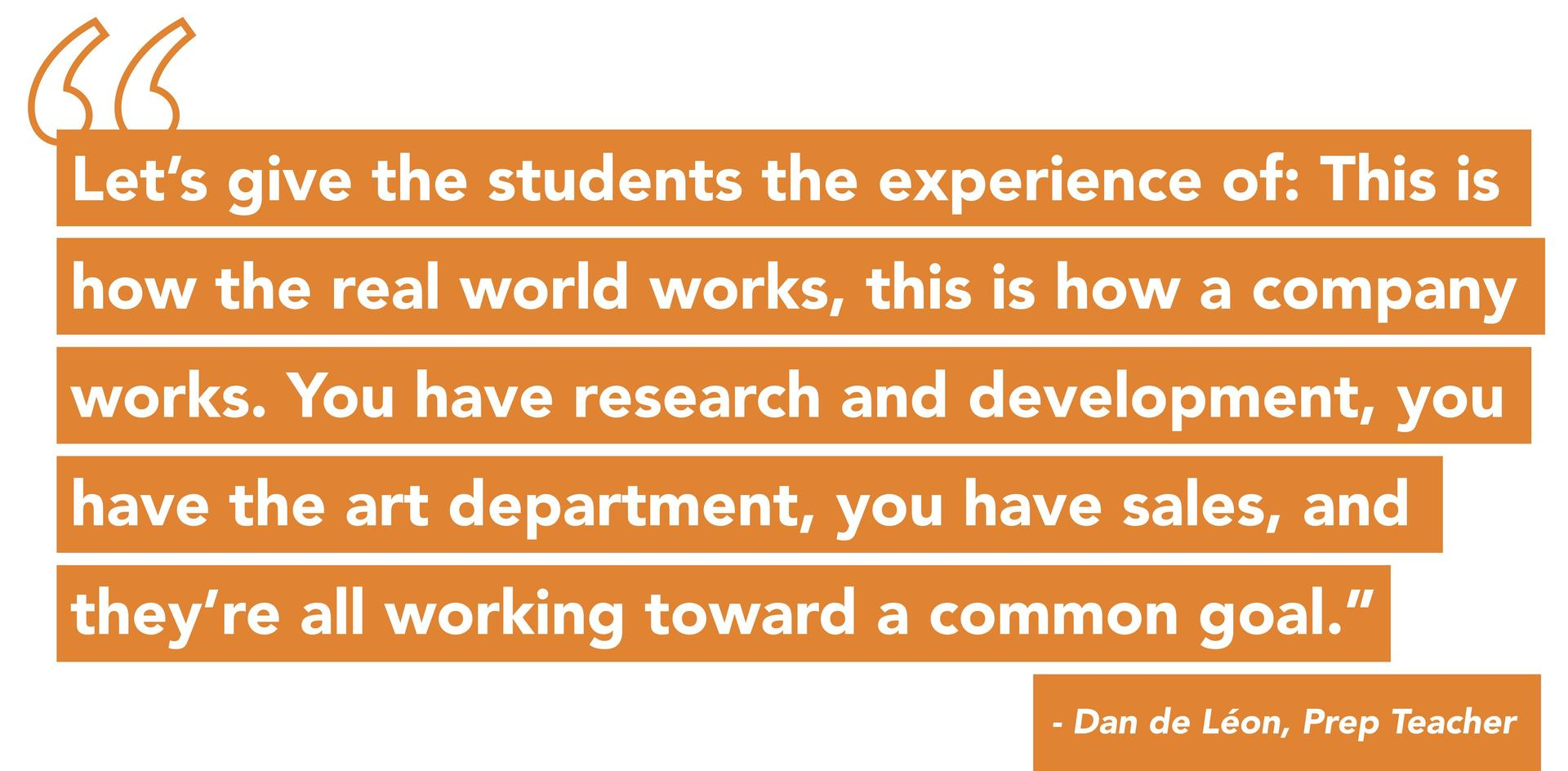 Quote from Entrepreneurial Studies Teacher