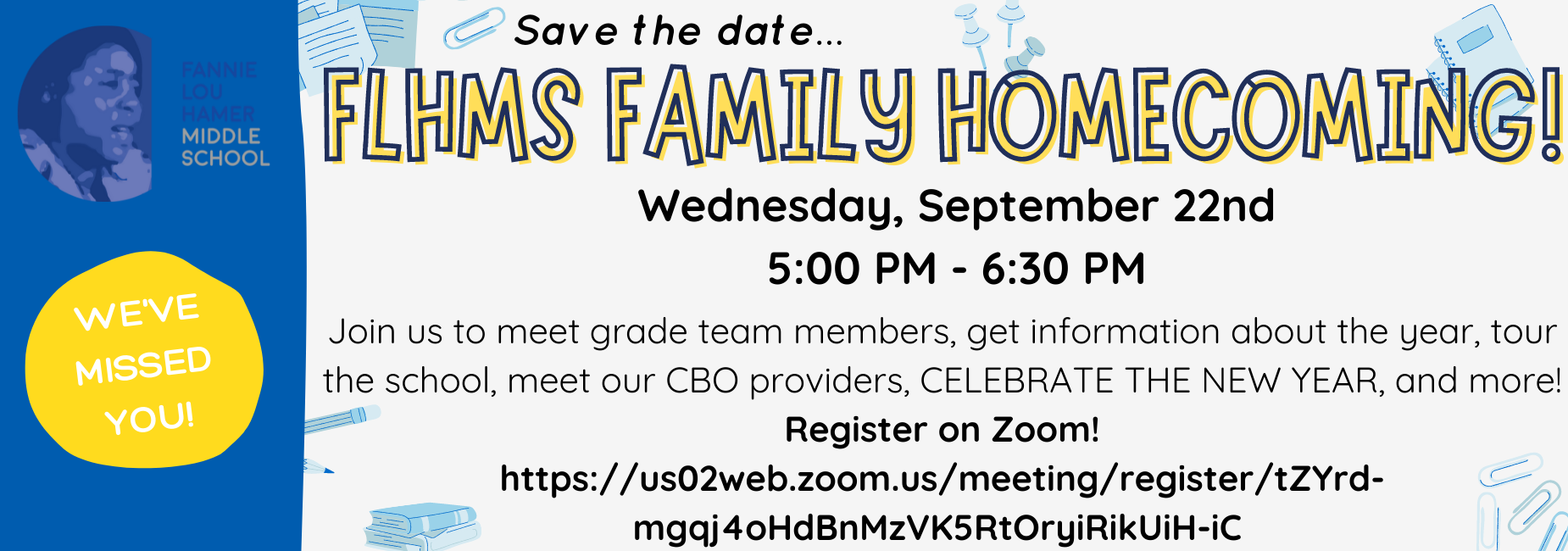 FLHMS Homecoming! Register on Zoom Register in advance for this meeting: https://us02web.zoom.us/meeting/register/tZYrd-mgqj4oHdBnMzVK5RtOryiRikUiH-iC