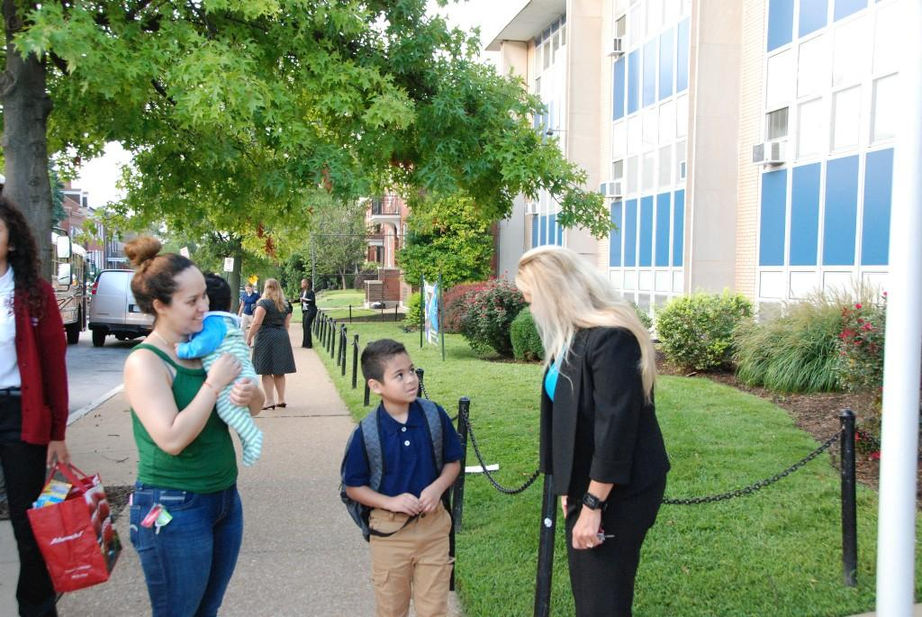 Morning greeters, first day of school, 2016-17
