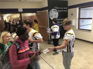 Chargers hand out water