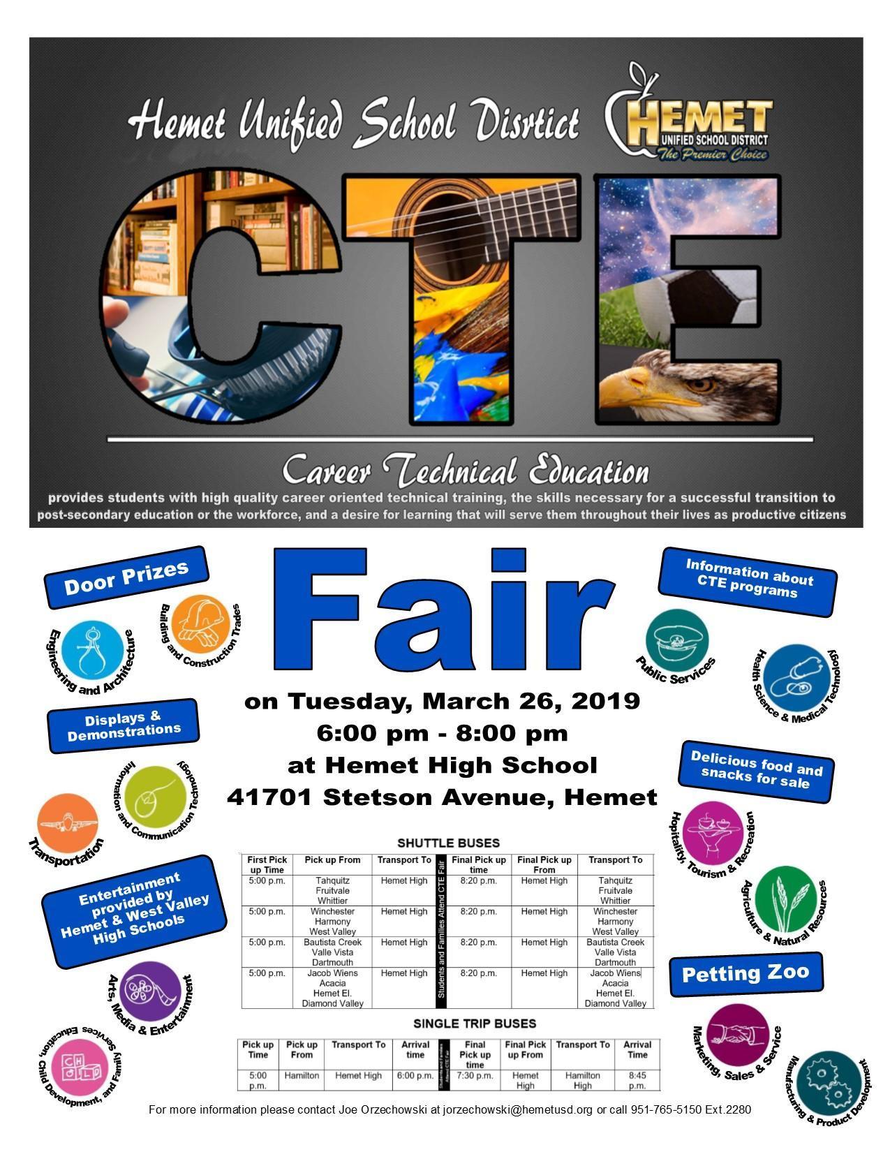 Hemet Unified School District CTE Fair Flyer