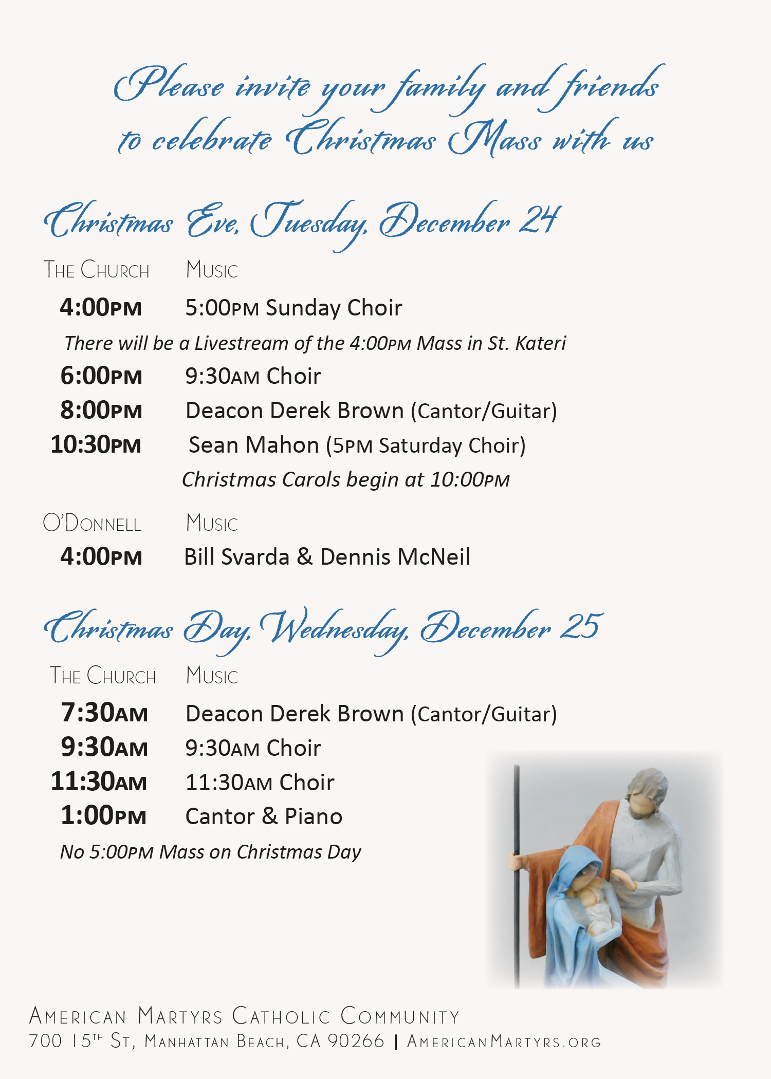 Invite family and friends to join us for Christmas Mass! Image