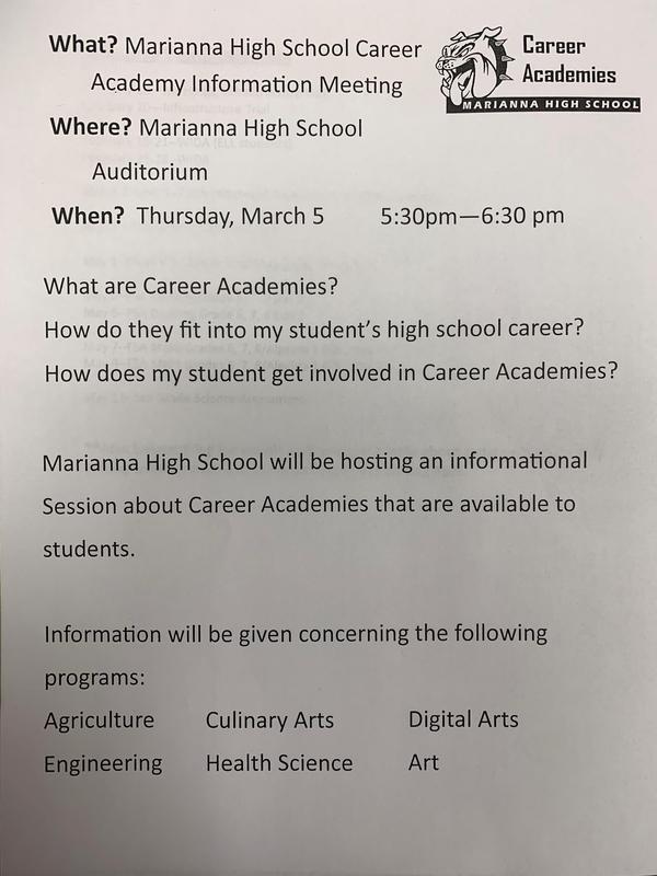 Marianna High School Career Academy Information Meeting