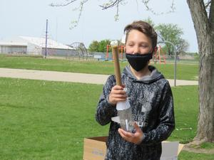 After the rockets launched, students ran to collect what was left of the rocket.