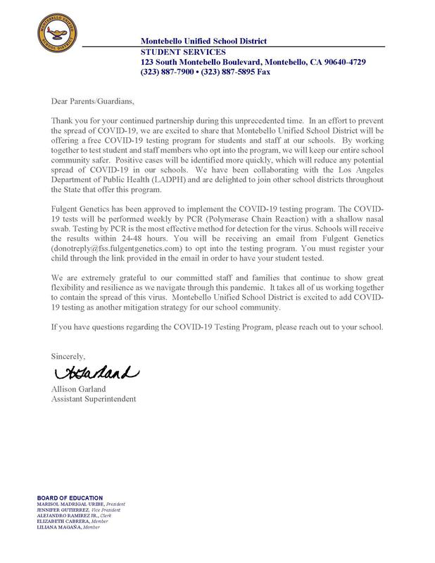 Parent Letter for Covid-19 Testing
