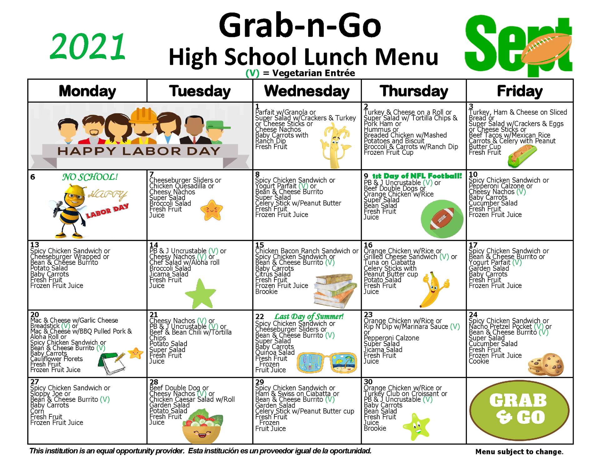 High School Grab-n-Go Lunch Menu September 2021