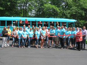 All of the people and organizations who helped make the B. Bus a reality participated in the ribbon cutting.