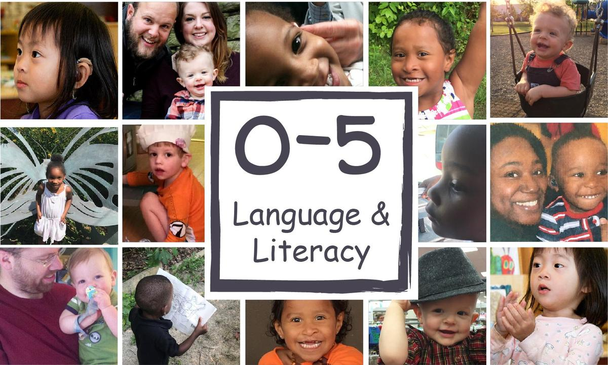 Logo of 0-5 language and literacy surrounded by child and parent photos