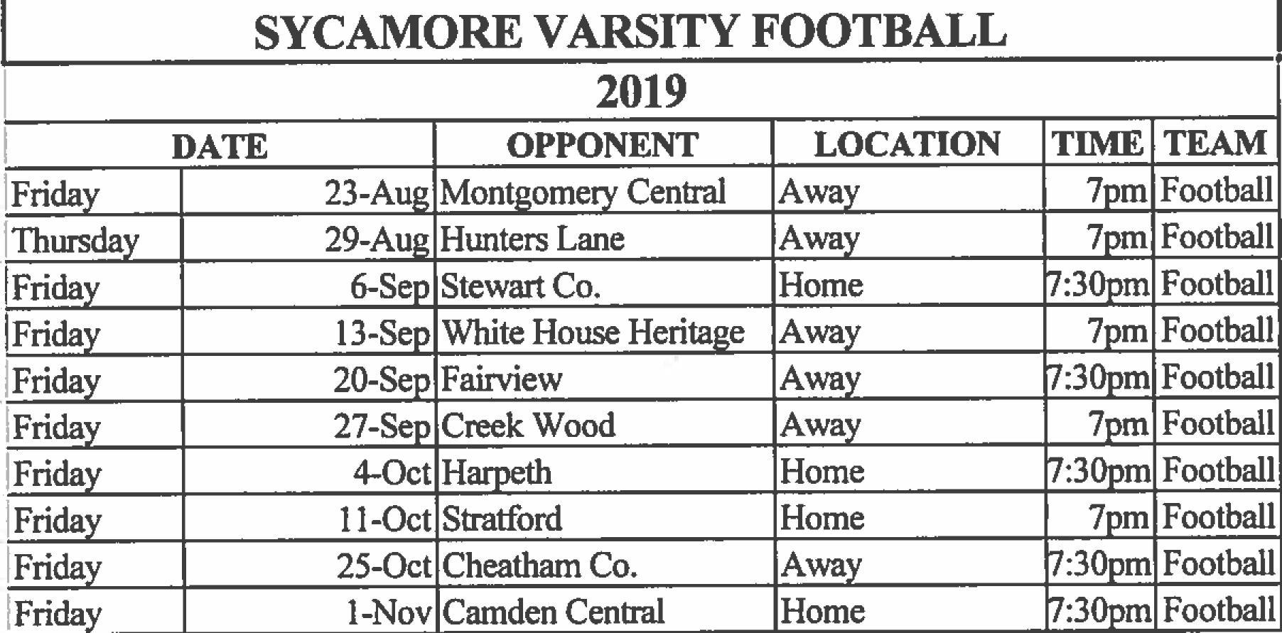 2019 Sycamore Football Schedule