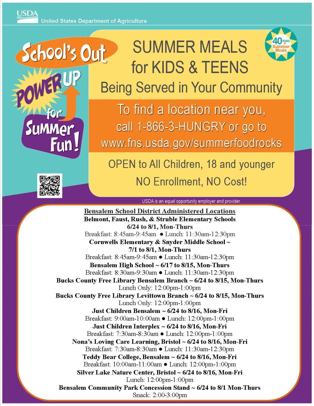 Photo of a flyer explaining Free Summer Meal Program for children age 1-18.