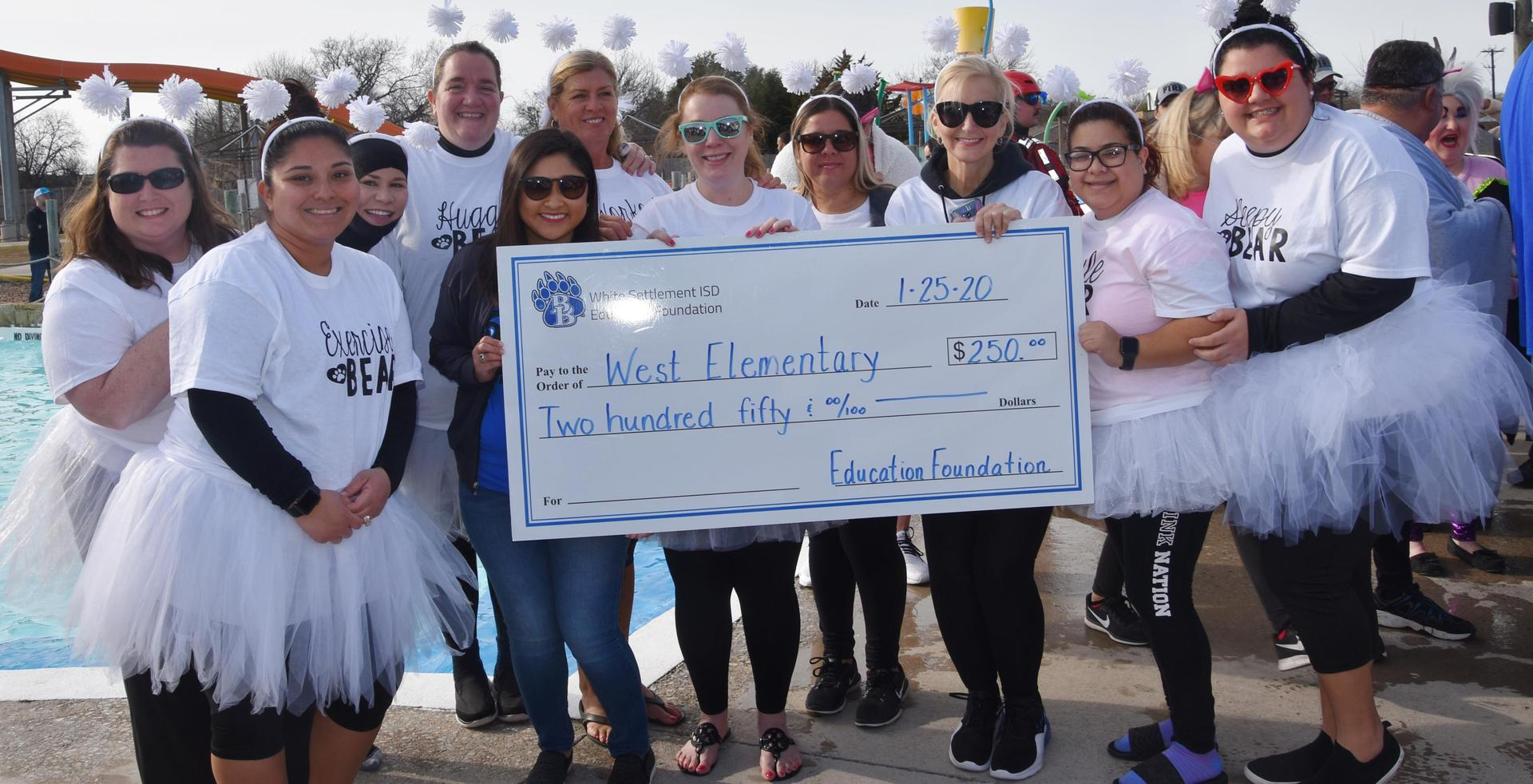 West Elementary won second place for most money raised at the BRRRewer Bear Plunge.
