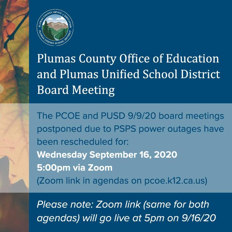 Rescheduled PUSD Board Meeting: 9/16/2020
